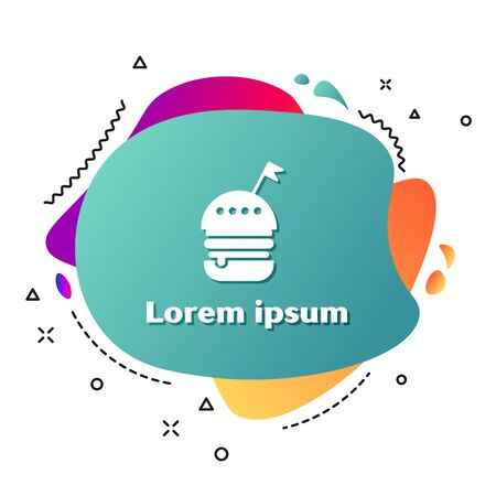White Burger icon isolated on white background. Hamburger icon. Cheeseburger sandwich sign. Fast food menu. Abstract banner with liquid shapes. Vector Illustration
