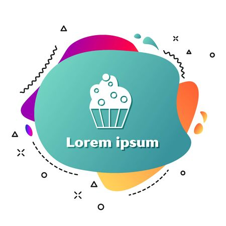 White Cupcake icon isolated on white background. Abstract banner with liquid shapes. Vector Illustration Çizim