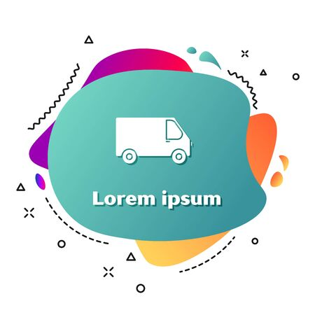 White Delivery cargo truck vehicle icon isolated on white background. Abstract banner with liquid shapes. Vector Illustration Illusztráció