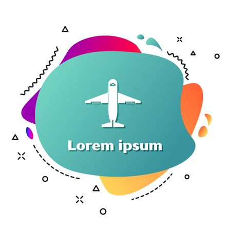 White Plane icon isolated on white background. Delivery, transportation. Cargo delivery by air. Airplane with parcels, boxes. Abstract banner with liquid shapes. Vector Illustration