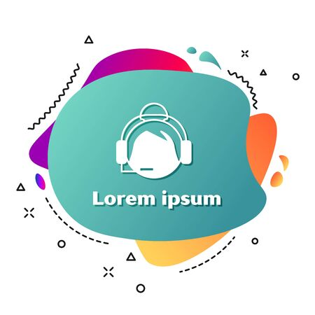 White Woman with a headset icon isolated on white background. Support operator in touch. Concept for call center, client support service. Abstract banner with liquid shapes. Vector Illustration Фото со стока - 131817225