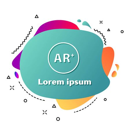 White Ar, augmented reality icon isolated on white background. Abstract banner with liquid shapes. Vector Illustration Çizim