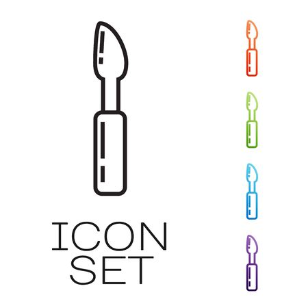 Black line Cutter tool icon isolated on white background. Sewing knife with blade. Set icons colorful. Vector Illustration Çizim
