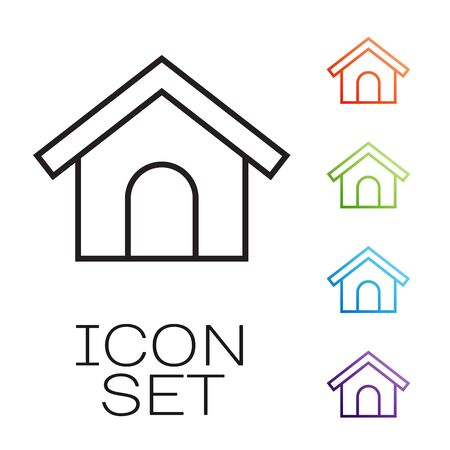 Black line Dog house icon isolated on white background. Dog kennel. Set icons colorful. Vector Illustration Standard-Bild - 131843073