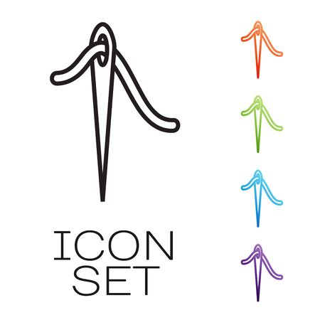 Black line Needle for sewing with thread icon isolated on white background. Tailor symbol. Textile sew up craft sign. Embroidery tool. Set icons colorful. Vector Illustration