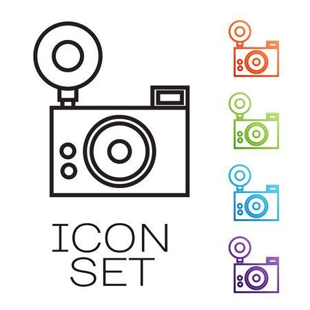 Black line Photo camera icon isolated on white background. Foto camera icon. Set icons colorful. Vector Illustration