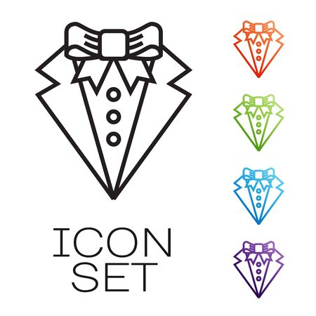 Black line Suit icon isolated on white background. Tuxedo. Wedding suits with necktie. Set icons colorful. Vector Illustration