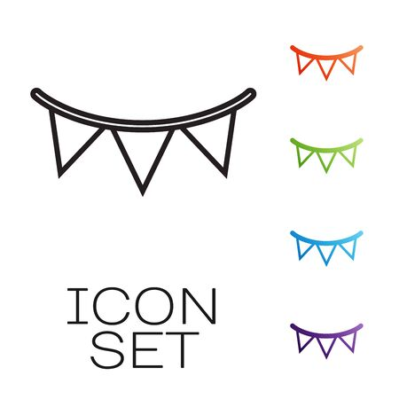Black line Carnival garland with flags icon isolated on white background. Party pennants for birthday celebration, festival and fair decoration. Set icons colorful. Vector Illustration