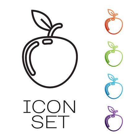 Black line Apple icon isolated on white background. Fruit with leaf symbol. Set icons colorful. Vector Illustration