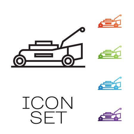 Black line Lawn mower icon isolated on white background. Lawn mower cutting grass. Set icons colorful. Vector Illustration