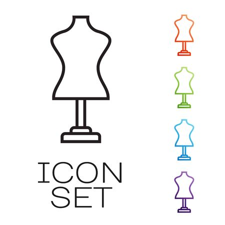 Black line Mannequin icon isolated on white background. Tailor dummy. Set icons colorful. Vector Illustration