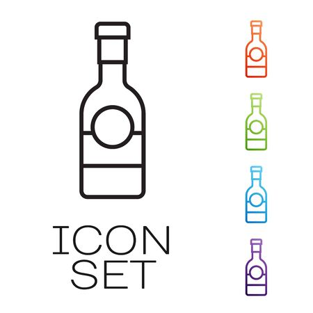 Black line Champagne bottle icon isolated on white background. Set icons colorful. Vector Illustration