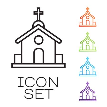 Black line Church building icon isolated on white background. Christian Church. Religion of church. Set icons colorful. Vector Illustration  イラスト・ベクター素材