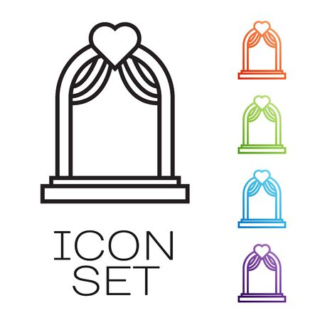 Black line Wedding arch icon isolated on white background. Wedding decoration. Set icons colorful. Vector Illustration