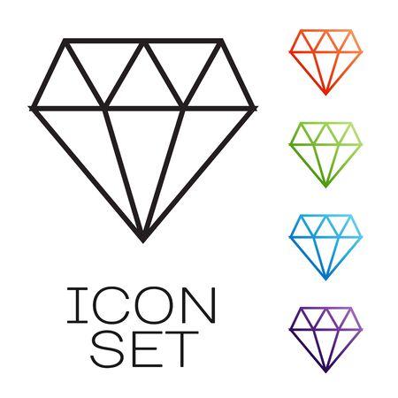 Black line Diamond icon isolated on white background. Jewelry symbol. Gem stone. Set icons colorful. Vector Illustration