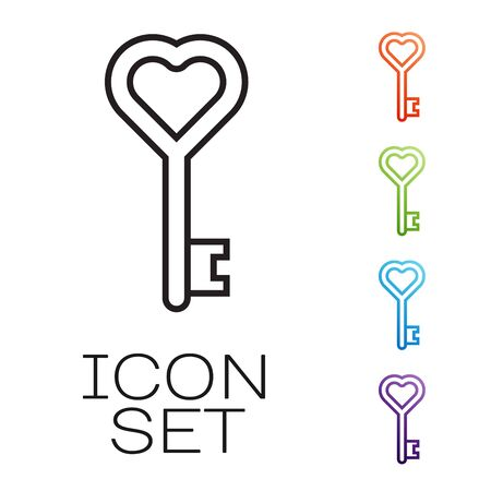 Black line Key in heart shape icon isolated on white background. Set icons colorful. Vector Illustration Illustration