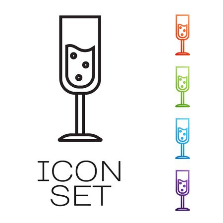 Black line Glass of champagne icon isolated on white background. Set icons colorful. Vector Illustration