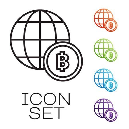 Black line Globe and cryptocurrency coin Bitcoin icon isolated on white background. Physical bit coin. Blockchain based secure crypto currency. Set icons colorful. Vector Illustration