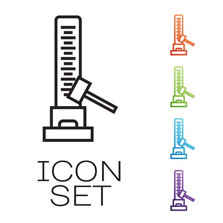 Black line High striker attraction with big hammer icon isolated on white background. Attraction for measuring strength. Amusement park. Set icons colorful. Vector Illustration