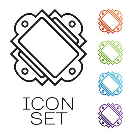 Black line Ticket icon isolated on white background. Amusement park. Set icons colorful. Vector Illustration