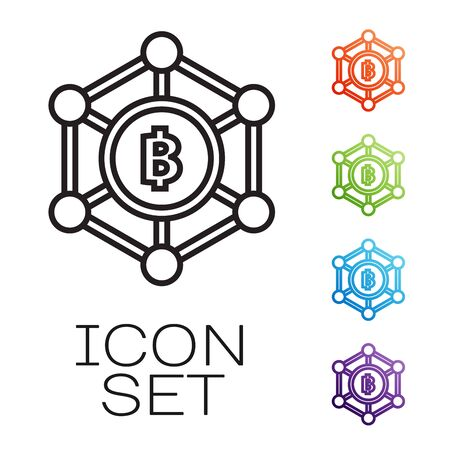 Black line Blockchain technology Bitcoin icon isolated on white background. Abstract geometric block chain network technology business. Set icons colorful. Vector Illustration
