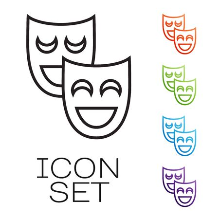 Black line Comedy theatrical masks icon isolated on white background. Set icons colorful. Vector Illustration Ilustração