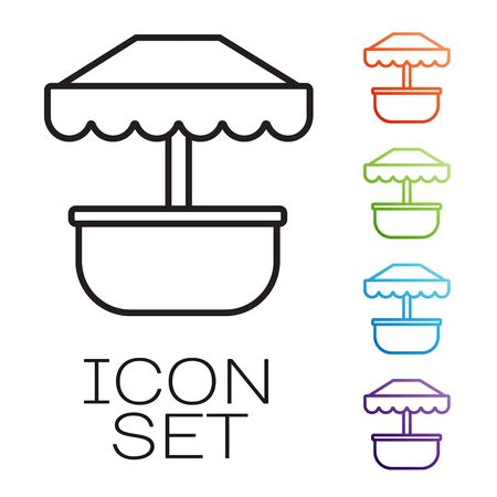 Black line Attraction carousel icon isolated on white background. Amusement park. Childrens entertainment playground, recreation park. Set icons colorful. Vector Illustration