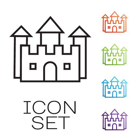Black line Castle icon isolated on white background. Set icons colorful. Vector Illustration
