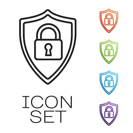 Black line Shield security with lock icon isolated on white background. Protection, safety, password security. Firewall access privacy sign. Set icons colorful. Vector Illustration