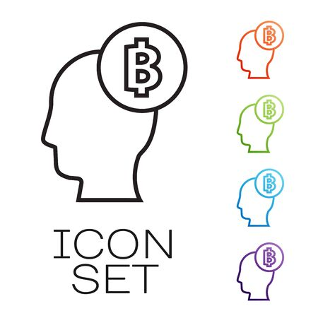 Black line Bitcoin think icon isolated on white background. Cryptocurrency head. Blockchain technology, digital money market, cryptocoin wallet. Set icons colorful. Vector Illustration
