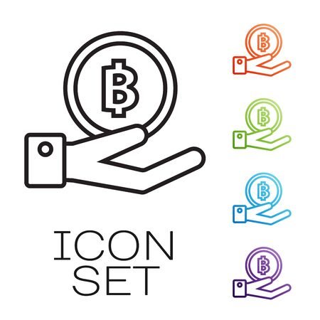 Black line Hand holding Bitcoin icon isolated on white background. Blockchain technology, digital money market, cryptocoin wallet. Set icons colorful. Vector Illustration Banque d'images - 131845140