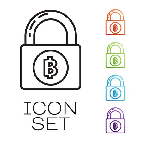 Black line Lock with bitcoin icon isolated on white background. Cryptocurrency mining, blockchain technology, security, protect, digital money. Set icons colorful. Vector Illustration