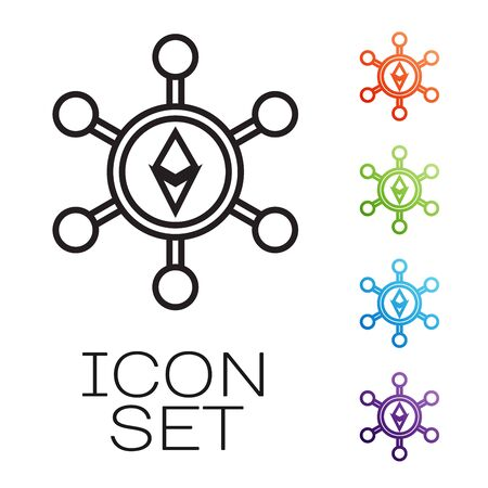 Black line Blockchain technology Ethereum ETH icon isolated on white background. Abstract geometric block chain network technology business. Set icons colorful. Vector Illustration