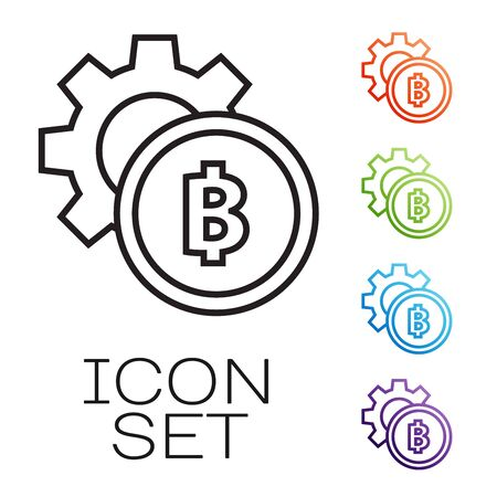 Black line Cryptocurrency coin Bitcoin icon isolated on white background. Gear and Bitcoin setting. Blockchain based secure crypto currency. Set icons colorful. Vector Illustration