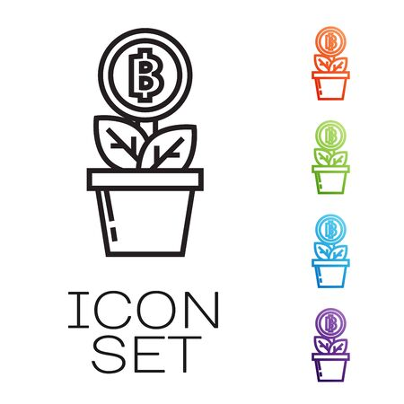 Black line Bitcoin plant in the pot icon isolated on white background. Business investment growth. Blockchain technology, cryptocurrency mining. Set icons colorful. Vector Illustration
