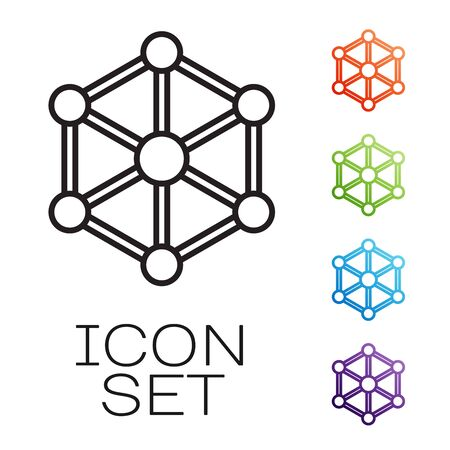 Black line Blockchain technology icon isolated on white background. Cryptocurrency data. Abstract geometric block chain network technology business. Set icons colorful. Vector Illustration