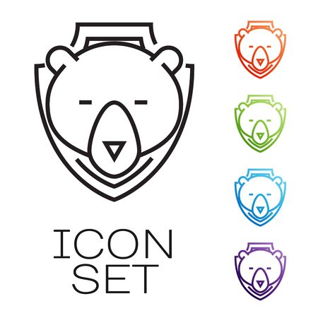Black line Bear head on shield icon isolated on white background. Hunting trophy on wall. Set icons colorful. Vector Illustration