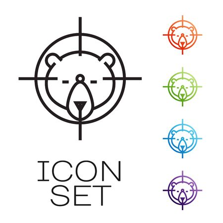 Black line Hunt on bear with crosshairs icon isolated on white background. Hunting club   with bear and target. Rifle lens aiming a bear. Set icons colorful. Vector Illustration