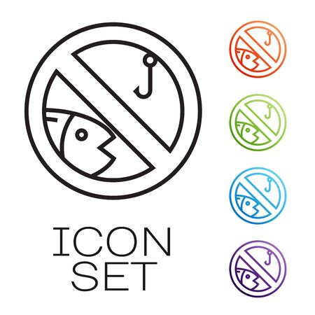 Black line No fishing icon isolated on white background. Prohibition sign. Set icons colorful. Vector Illustration Banco de Imagens - 131846616