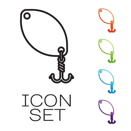 Black line Fishing spoon icon isolated on white background. Fishing baits in shape of fish. Fishing tackle. Set icons colorful. Vector Illustration