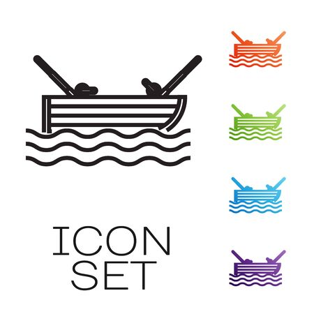 Black line Fishing boat with fishing rod on water icon isolated on white background. Set icons colorful. Vector Illustration