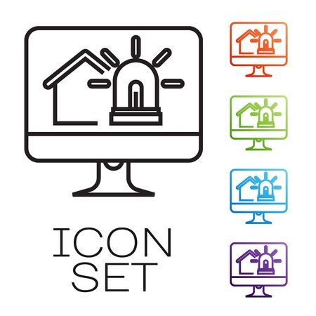Black line Computer monitor with smart house and alarm icon isolated on white background. Security system of smart home. Set icons colorful. Vector Illustration