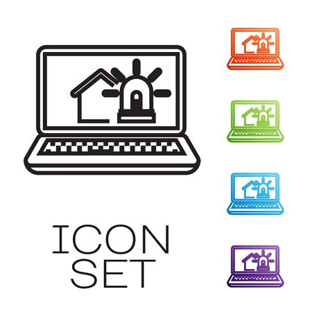 Black line Laptop with smart house and alarm icon isolated on white background. Security system of smart home. Set icons colorful. Vector Illustration Иллюстрация