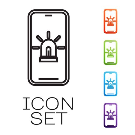 Black line Mobile phone with smart house and alarm icon isolated on white background. Security system of smart home. Set icons colorful. Vector Illustration