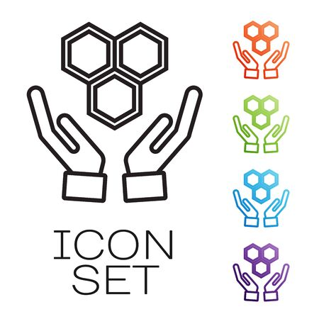 Black line Honeycomb and hands icon isolated on white background. Honey cells symbol. Sweet natural food. Set icons colorful. Vector Illustration Çizim