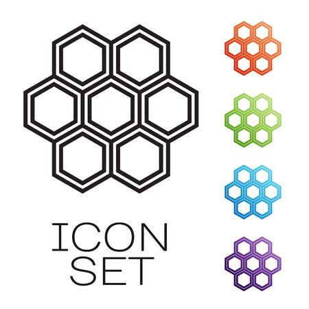 Black line Honeycomb icon isolated on white background. Honey cells symbol. Sweet natural food. Set icons colorful. Vector Illustration