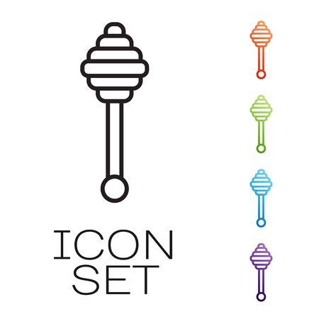 Black line Honey dipper stick icon isolated on white background. Honey ladle. Set icons colorful. Vector Illustration