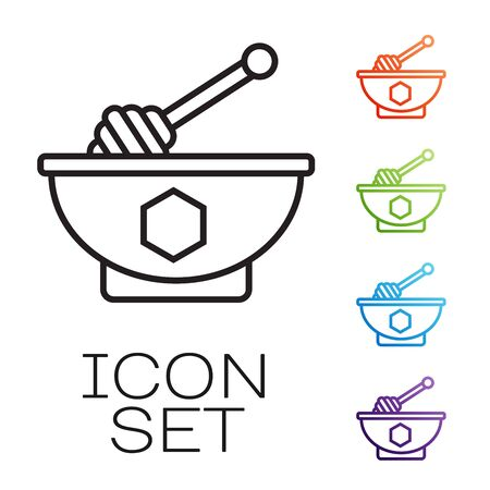 Black line Honey dipper stick and bowl icon isolated on white background. Honey ladle. Set icons colorful. Vector Illustration