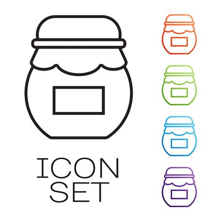 Black line Jar of honey icon isolated on white background. Food bank. Sweet natural food symbol. Set icons colorful. Vector Illustration