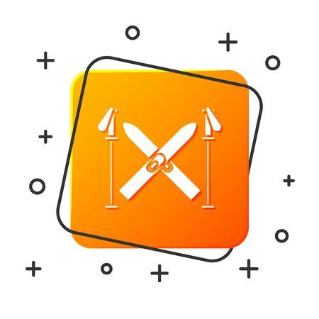 White Ski and sticks icon isolated on white background. Extreme sport. Skiing equipment. Winter sports icon. Orange square button. Vector Illustration Stock Illustratie